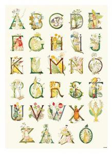 Affisch Blomsteralfabetet