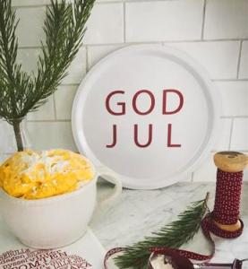 Bricka God Jul, vit (rund 31cm)