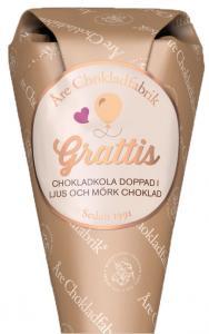 Chokladstrut, Grattis, med blandade ljusa och mörka chokladkolor från Åre Chokladfabrik