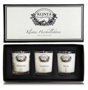 Herrkollektion, massage-/doftljus från Klinta