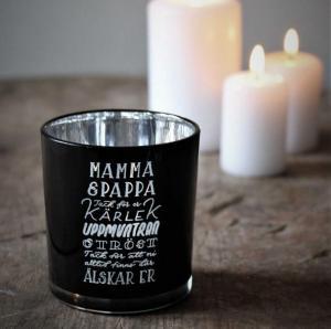 Ljuslykta Mamma & Pappa, från Majas lyktor säljs till förmån för Barncancerfonden