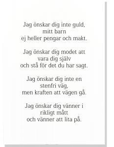 Tavla Jag önskar dig inte guld mitt barn - Ingvar Kamprad