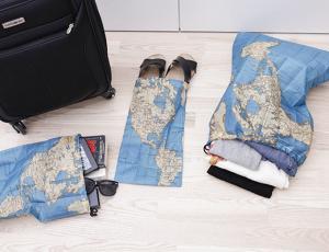 Resepåsar med kartmotiv (4-set) att ta med på resan