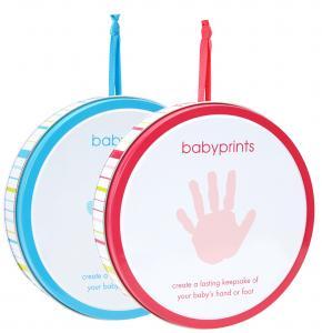 Babyprints hand och fotavtryck i plåtburk