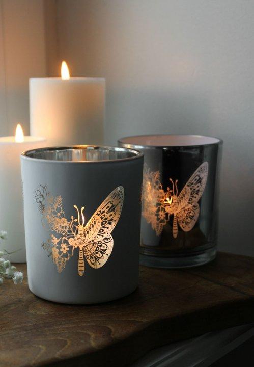 Ljuslyktor Butterfly with flowers - Majas lyktor/Barncancerfonden (Vit)