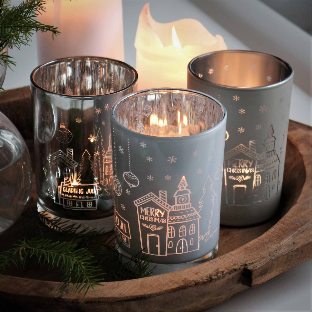 Ljuslykta God Jul - Majas lyktor/ Barncancerfonden (Silver) • Pryloteket