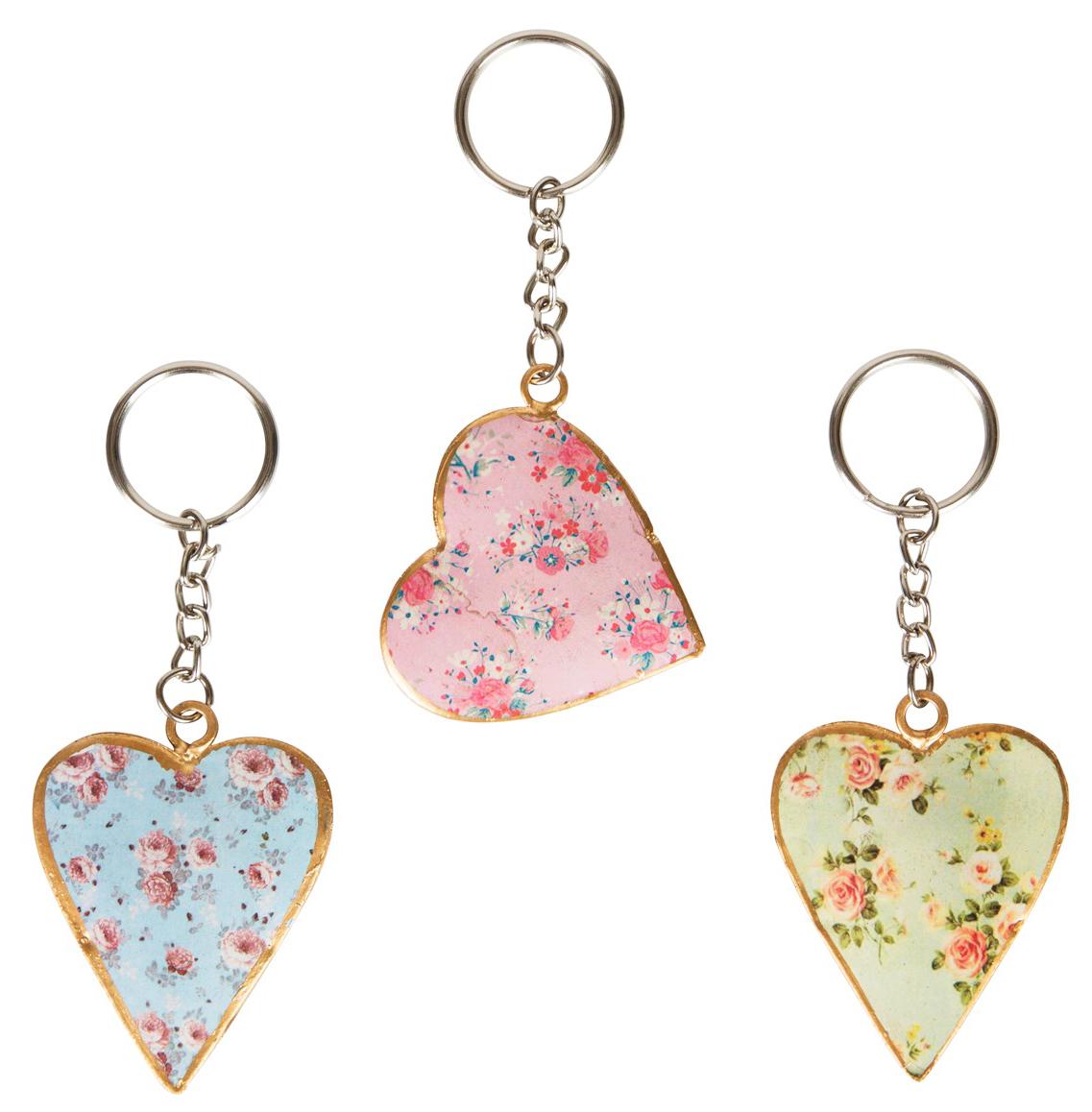 """Nyckelring hjärta """"Vintage Julia"""" (Rosa)"""
