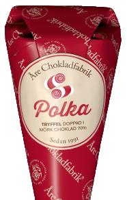 Polkatryffel doppad i mörk choklad, chokladpraliner från Åre Chokladfabrik