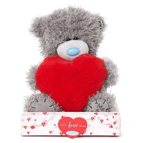 Nalle med rött fluffigt hjärta, 15cm - Me to you (Miranda nalle) • Pryloteket