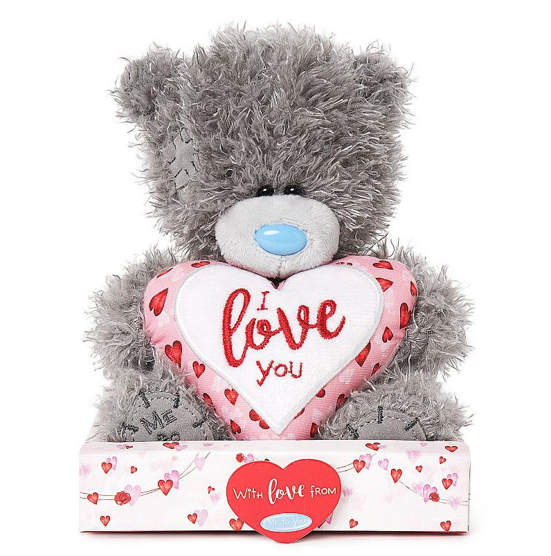 Nalle I Love You på hjärta (rosa, vitt, rött), 15cm - Me To You