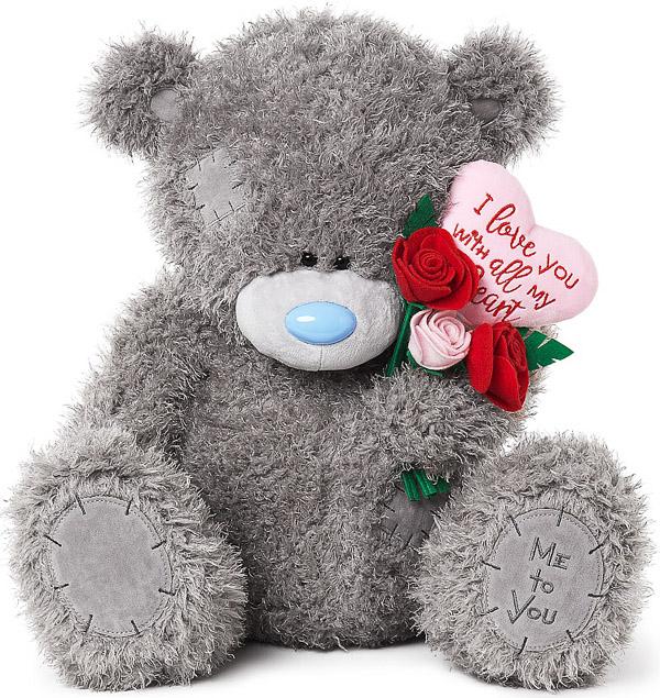 Nalle med bukett och hjärta med kärleksbudskap, 45cm - Me to you (Miranda nalle) • Pryloteket