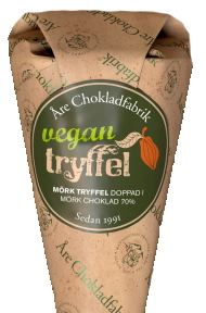 Vegantryffel doppad i mörk choklad, chokladpraliner från Åre Chokladfabrik