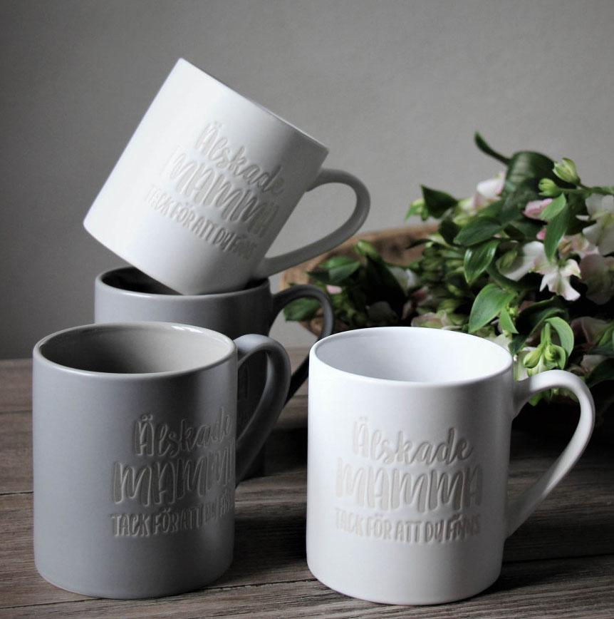 Mugg Älskade Mamma - Majas lyktor/ Barncancerfonden (Grå) • Pryloteket