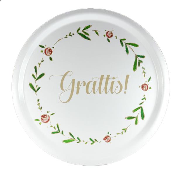 """Bricka """"Grattis"""" (rund 31cm)"""