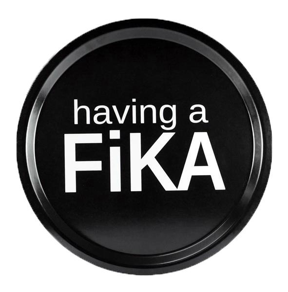 """Bricka """"Having a fika"""" (rund 31cm)"""