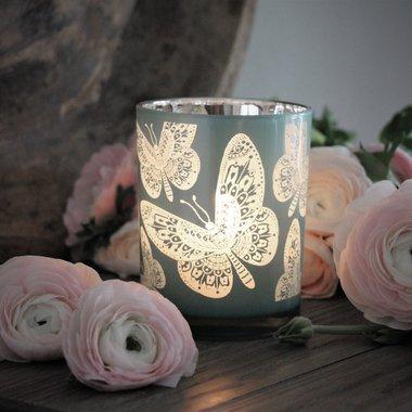Ljuslykta Butterflies (Aqua) - Majas lyktor/ Barncancerfonden (Aqua) • Pryloteket