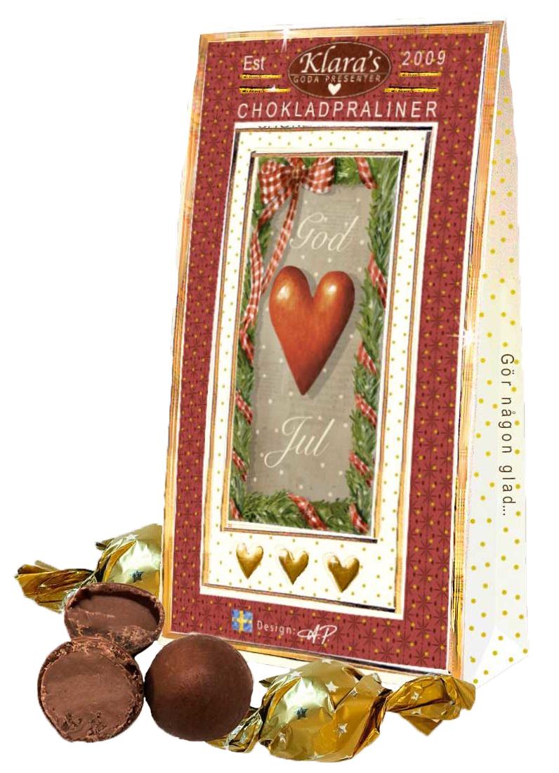 God Jul chokladpraliner, Hjärtanmotiv • Pryloteket