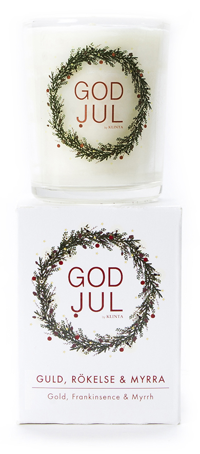 Massageljus/Doftljus Juldoft (Guld, rökelse & myrra)- Klinta • Pryloteket