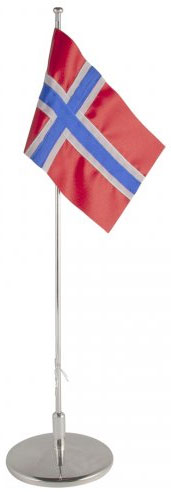 Flaggstång nysilver, Norsk flagga, 42cm