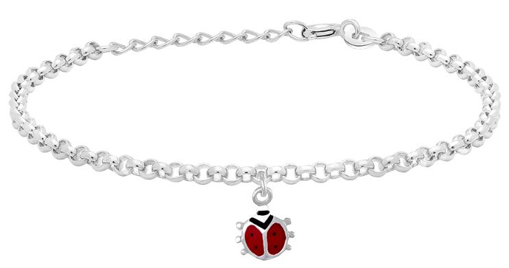 Silverarmband med nyckelpiga, 17cm • Pryloteket