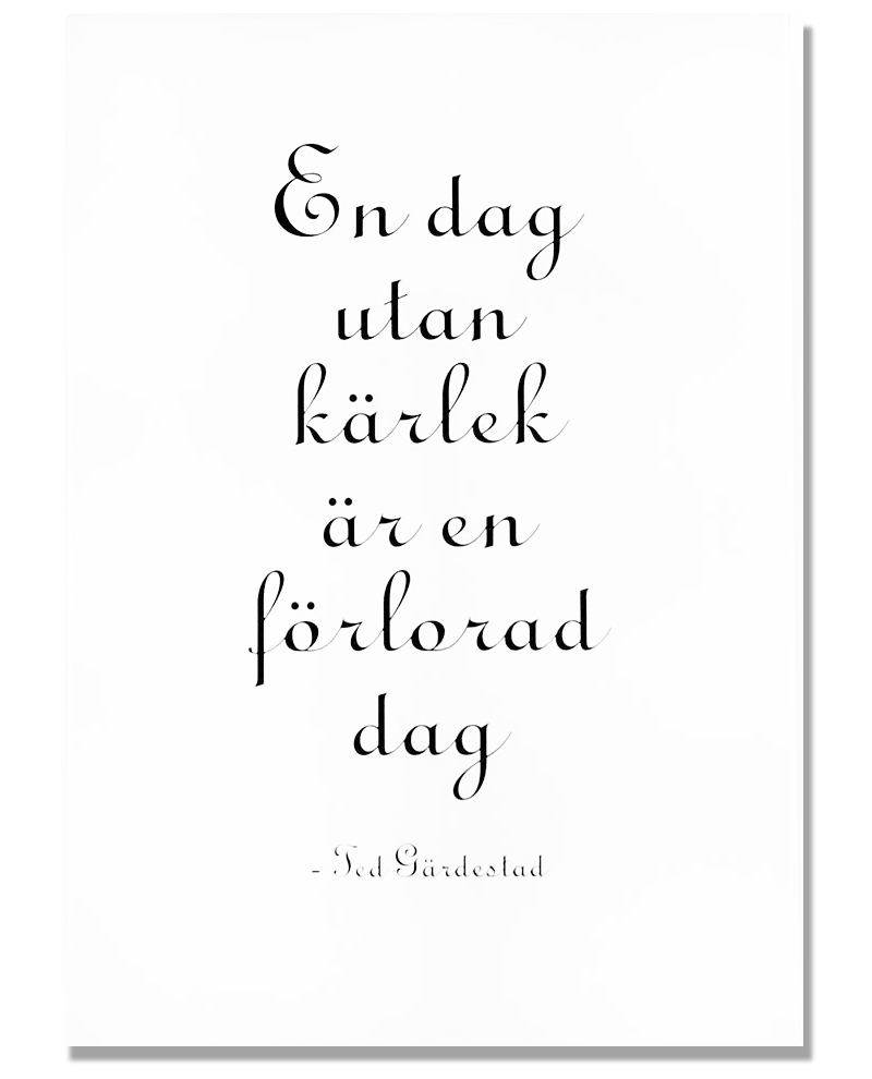 "Tavla ""En dag utan kärlek"" - Ted Gärdestad • Pryloteket"