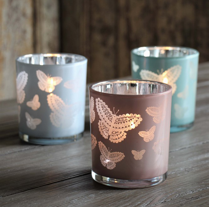 Ljuslykta Happiness Butterflies, stor - Majas lyktor/ Barncancerfonden (Rosa)