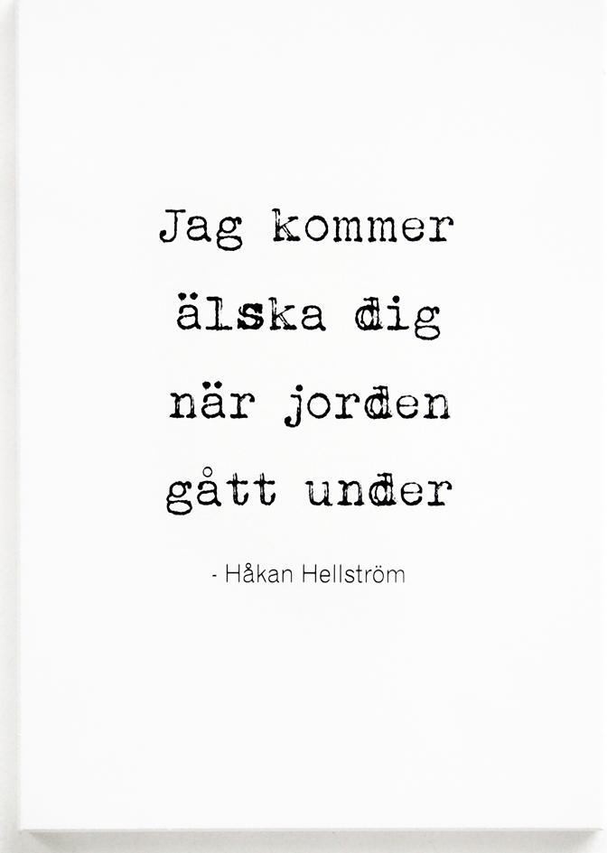 """Tavla """"Jag kommer älska dig"""" - Håkan Hellström • Pryloteket"""