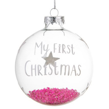 "Julgranskula ""My first Christmas"", rosa"