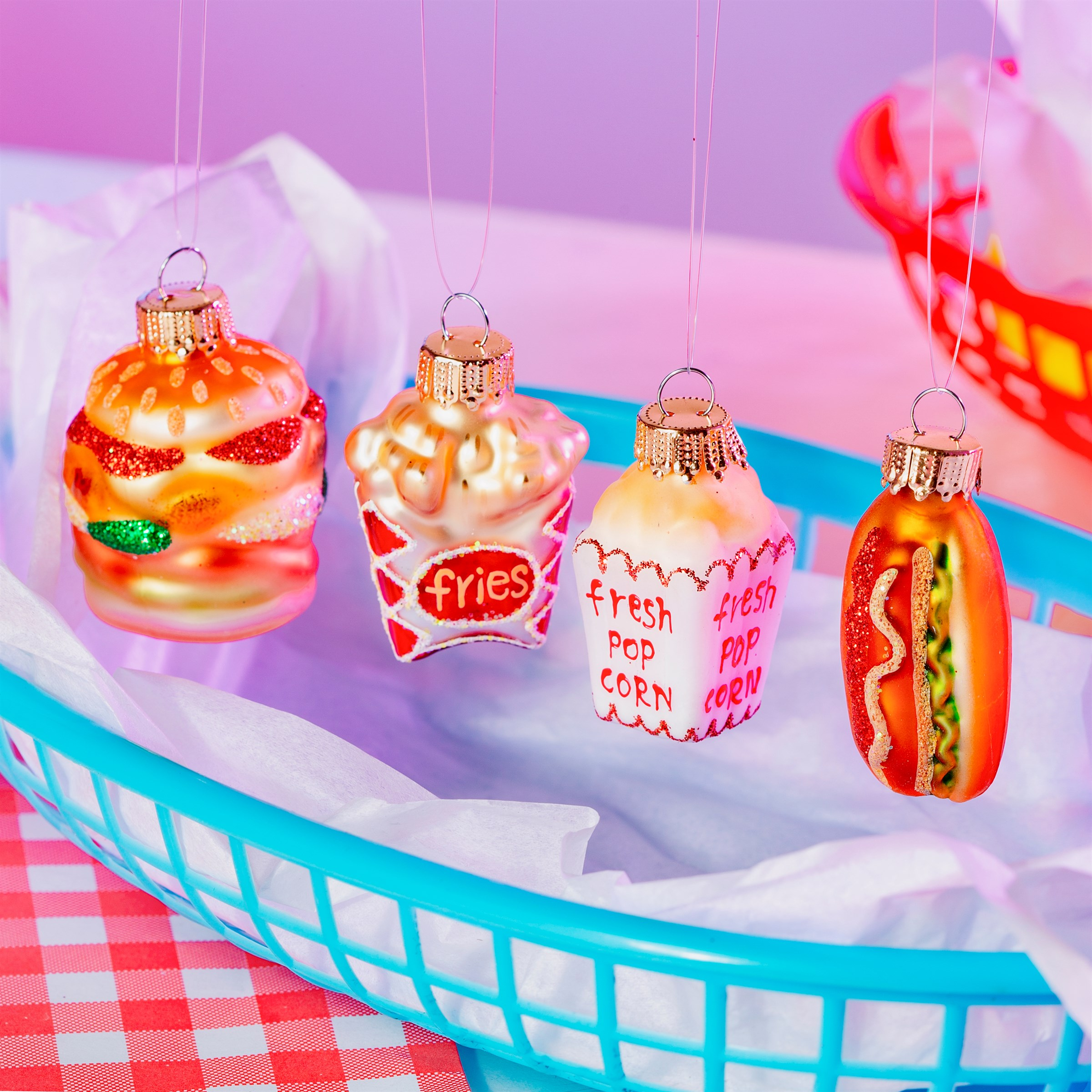 "Julgranskulor ""Fun Fast Food"", 4-pack"