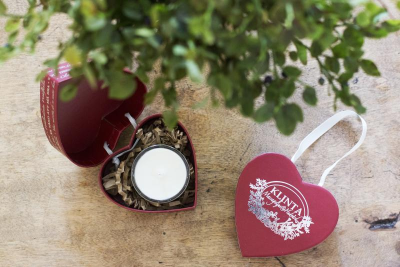 Julhjärta med massage-/doftljus - Klinta