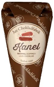 Kaneltryffel doppad i mörk choklad, chokladpraliner från Åre Chokladfabrik