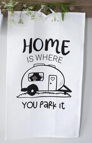 "Kökshandduk Husvagn ""Home is"" • Pryloteket"