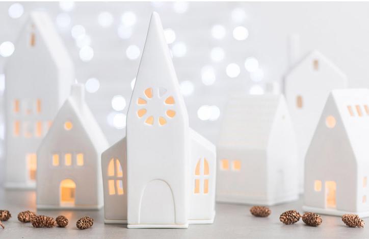 Ljuslykta hus - Räder (Höghus med små fönster, 16cm) • Pryloteket