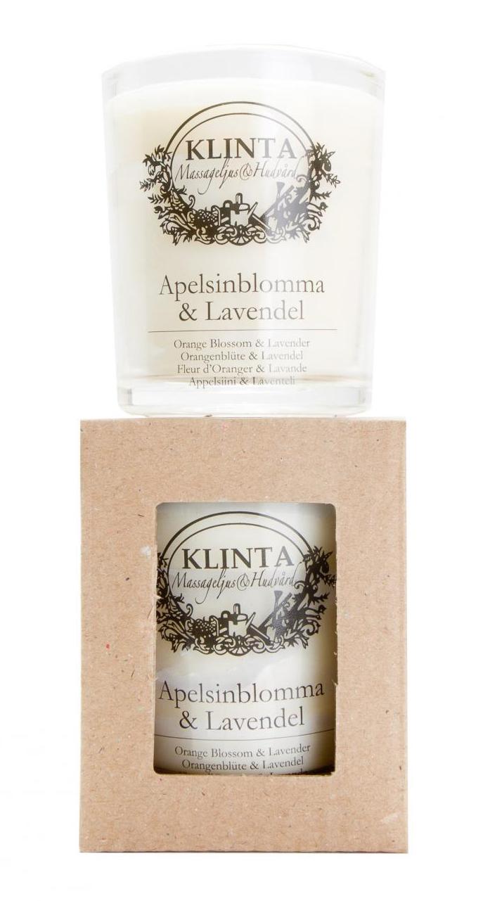 Massageljus/Doftljus Blomdofter - Klinta (Apelsinblomma & Lavendel)
