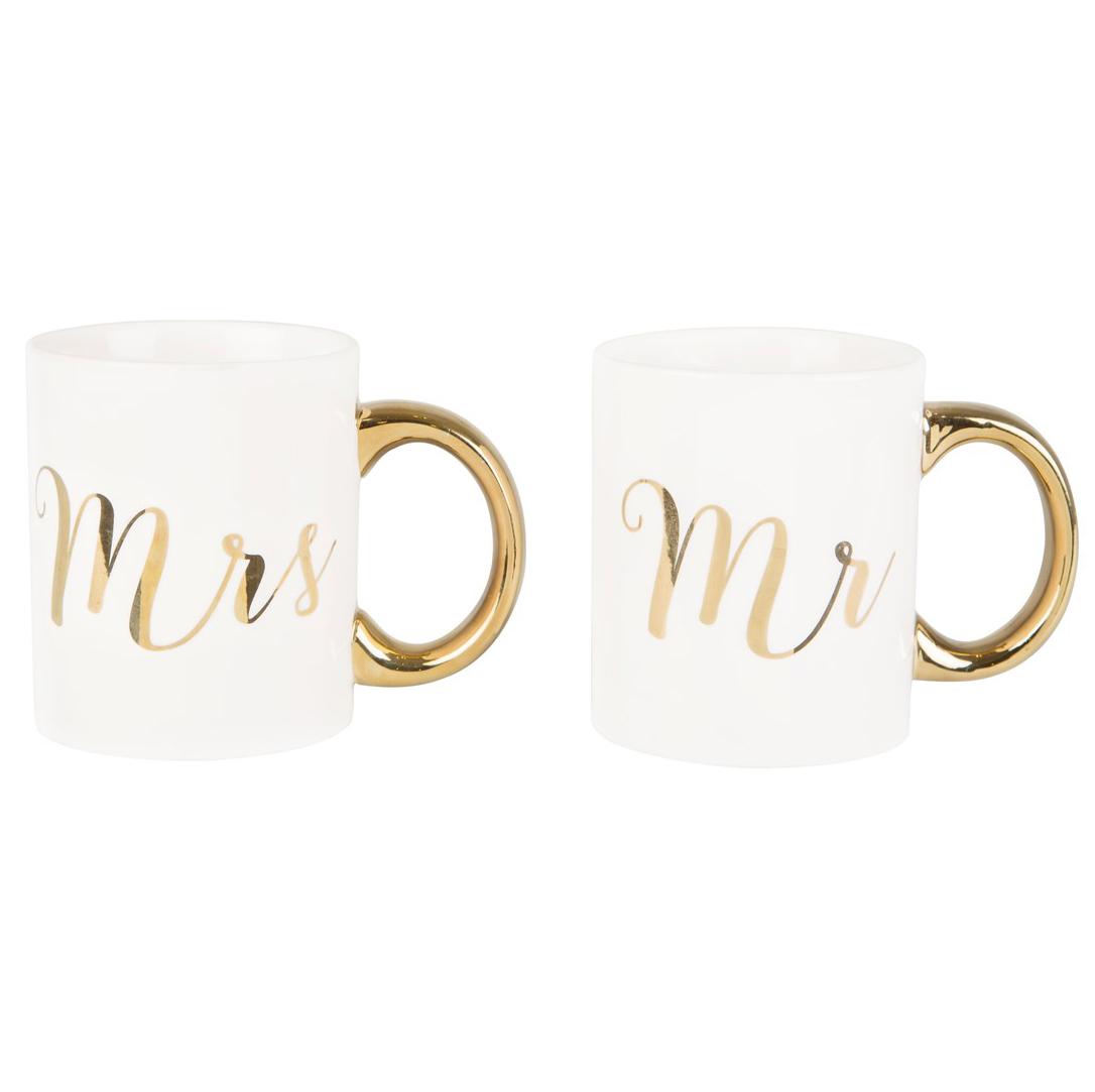 Mugg Mr & Mrs i guld och vitt (Mr) • Pryloteket