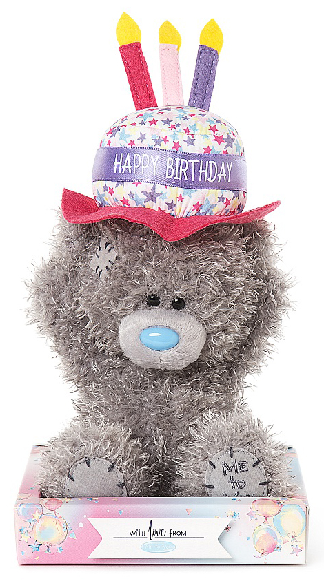 Nalle Happy Birthday på hatt, 15cm - Me To You • Pryloteket