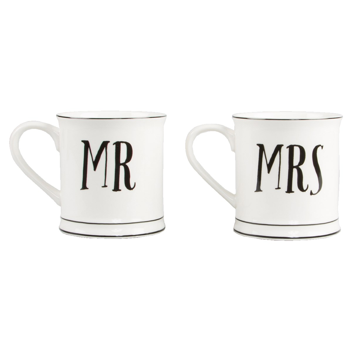 Mugg Mr & Mrs (svart/vit) (Mr)