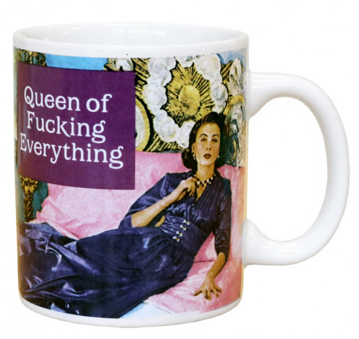 Retro mugg med texten Queen of fucking everything