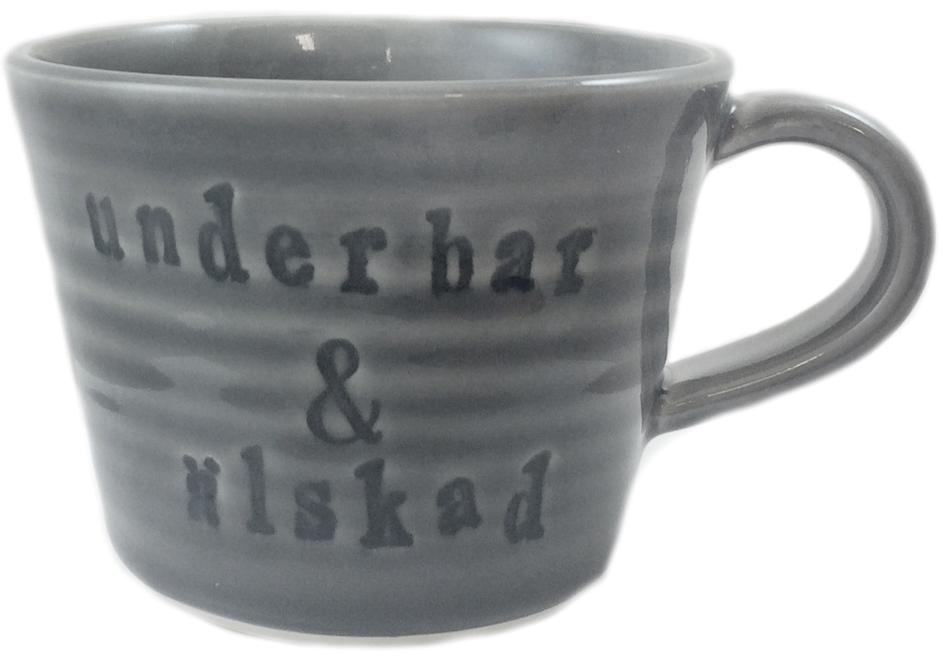 Mugg Underbar & Älskad - Puss Puss Company (Grå) • Pryloteket