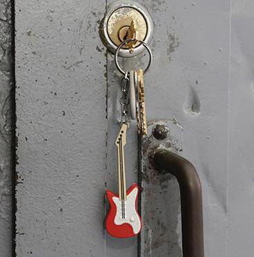 Nyckelring Gitarr (med ljud och ljus) (Röd)