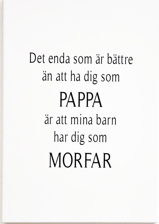 """Skylt """"Pappa och Morfar • Pryloteket"""