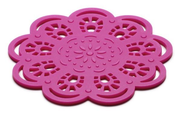 Glasunderlägg Spets i silikon, cerise - KG Design • Pryloteket