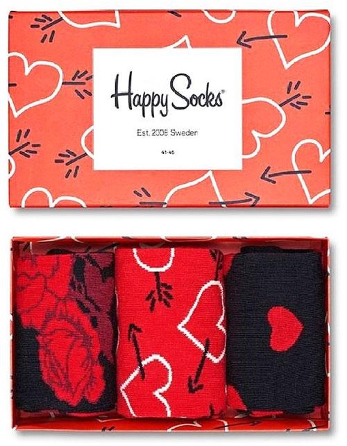 Hjärtan sockar 3 par i box - Happy Socks (36-40)