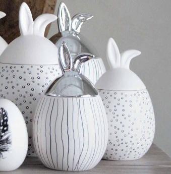 Rabbit Jar, liten (9 x 16cm) - Majas lyktor/ Barncancerfonden (Vitt lock - randigt mönster) • Pryloteket