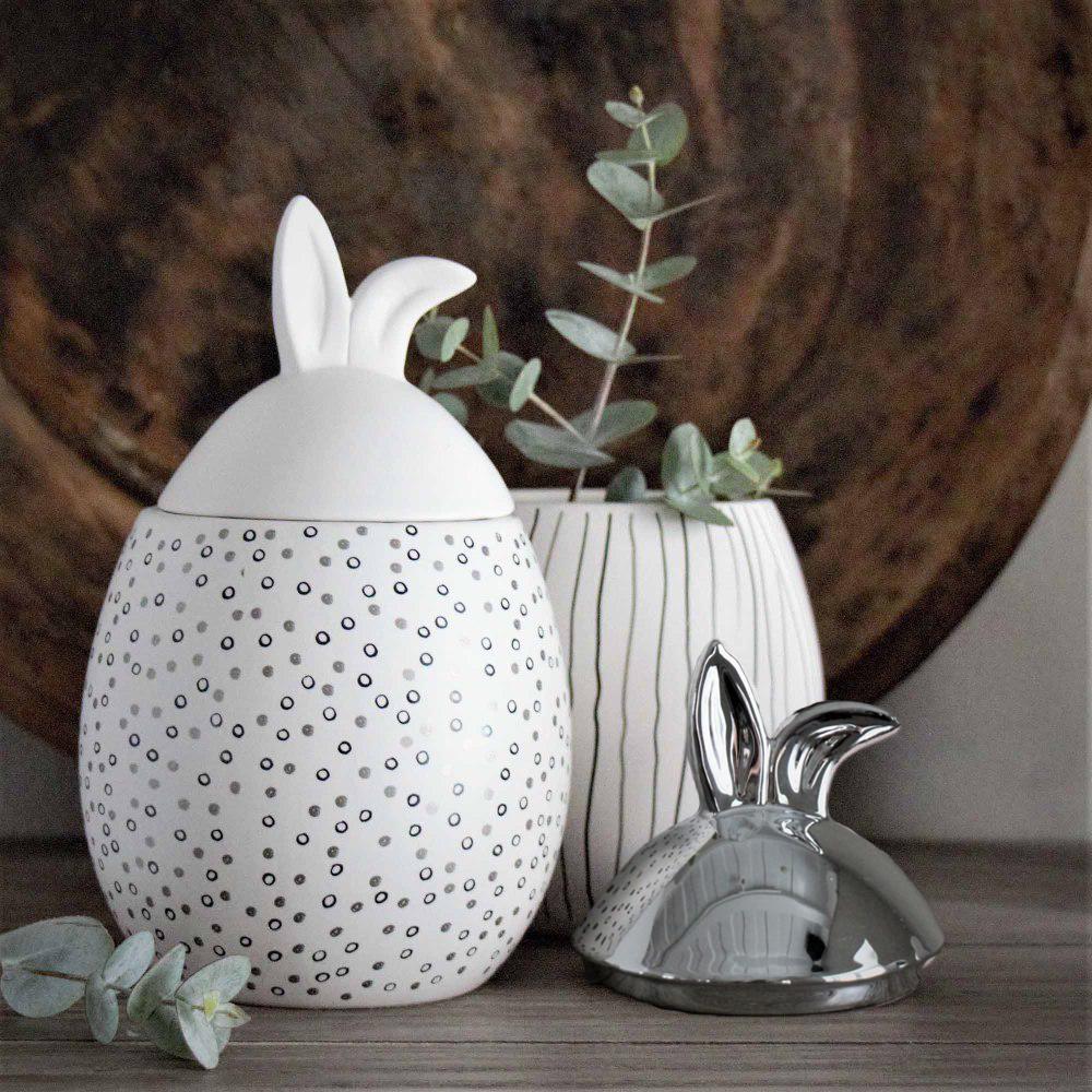 Rabbit Jar, stor (12 x 20cm) - Majas lyktor/ Barncancerfonden (Vitt lock - randigt mönster) • Pryloteket