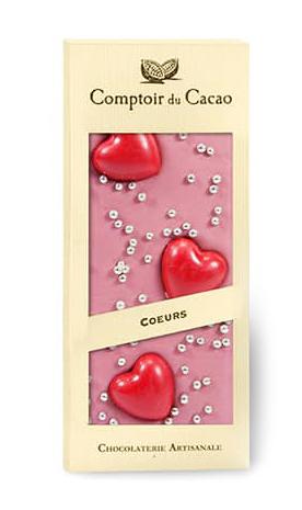 Chokladkaka Ruby (rosa choklad) med hjärtan • Pryloteket
