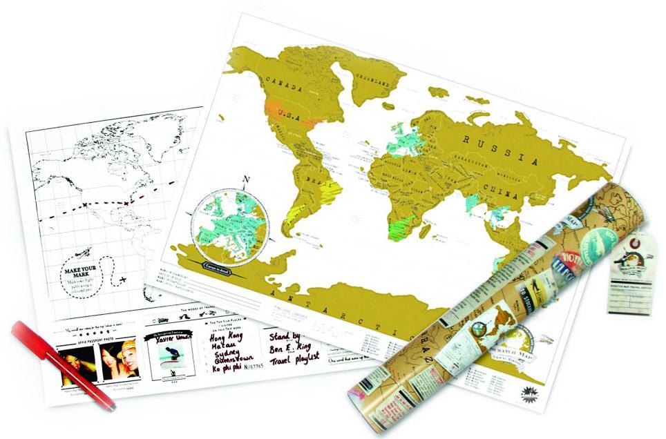 Skrapkarta - skrapa fram de länder du har besökt • Pryloteket