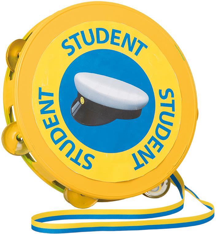 Studenttamburin i blå/gult snöre • Pryloteket
