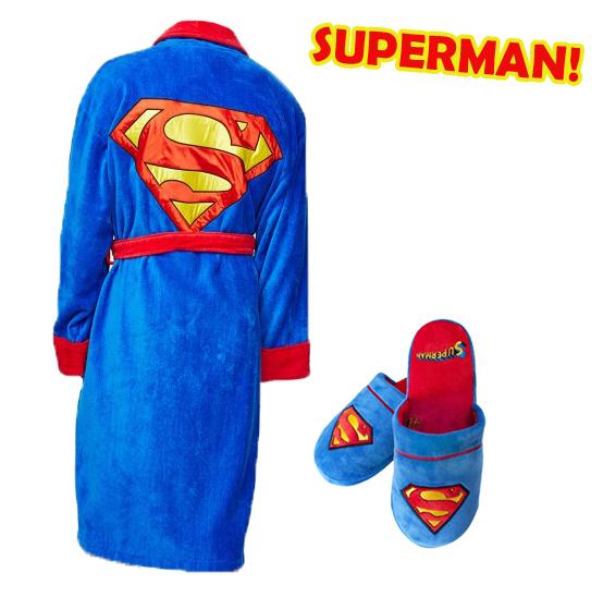 Superman PAKET - Morgonrock + Tofflor • Pryloteket