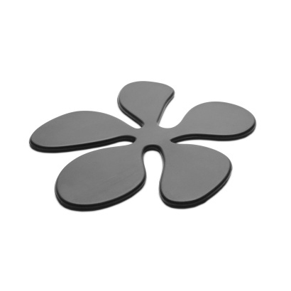 PAKET (12st) Glasunderlägg Blomma i silikon, Svart - KG Design • Pryloteket